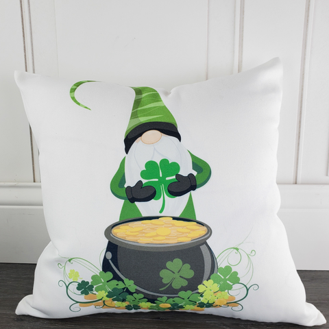 Gnome with Shamrock and Pot of Gold St. Patrick's Day Throw Pillow - Incandescently - Glitter Sparkle Throw Pillows - Farmhouse Decor