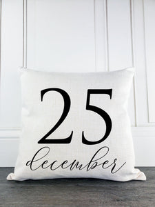 December 25 Rustic Farmhouse Christmas Throw Pillow - Incandescently - Glitter Sparkle Throw Pillows - Farmhouse Decor