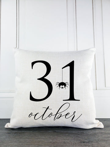 October 31st Rustic Farmhouse Halloween Throw Pillow - Incandescently