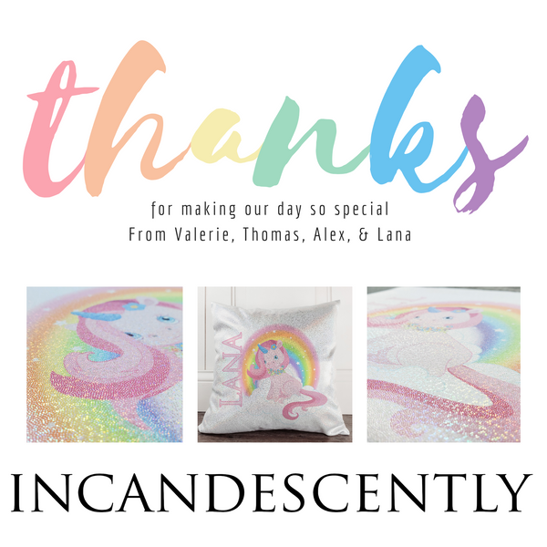 Unicorn with Rainbow Personalized Glitter Sparkle Pillow - Incandescently