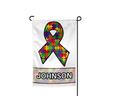 Autism Ribbon Puzzle Personalized Welcome Garden Flag