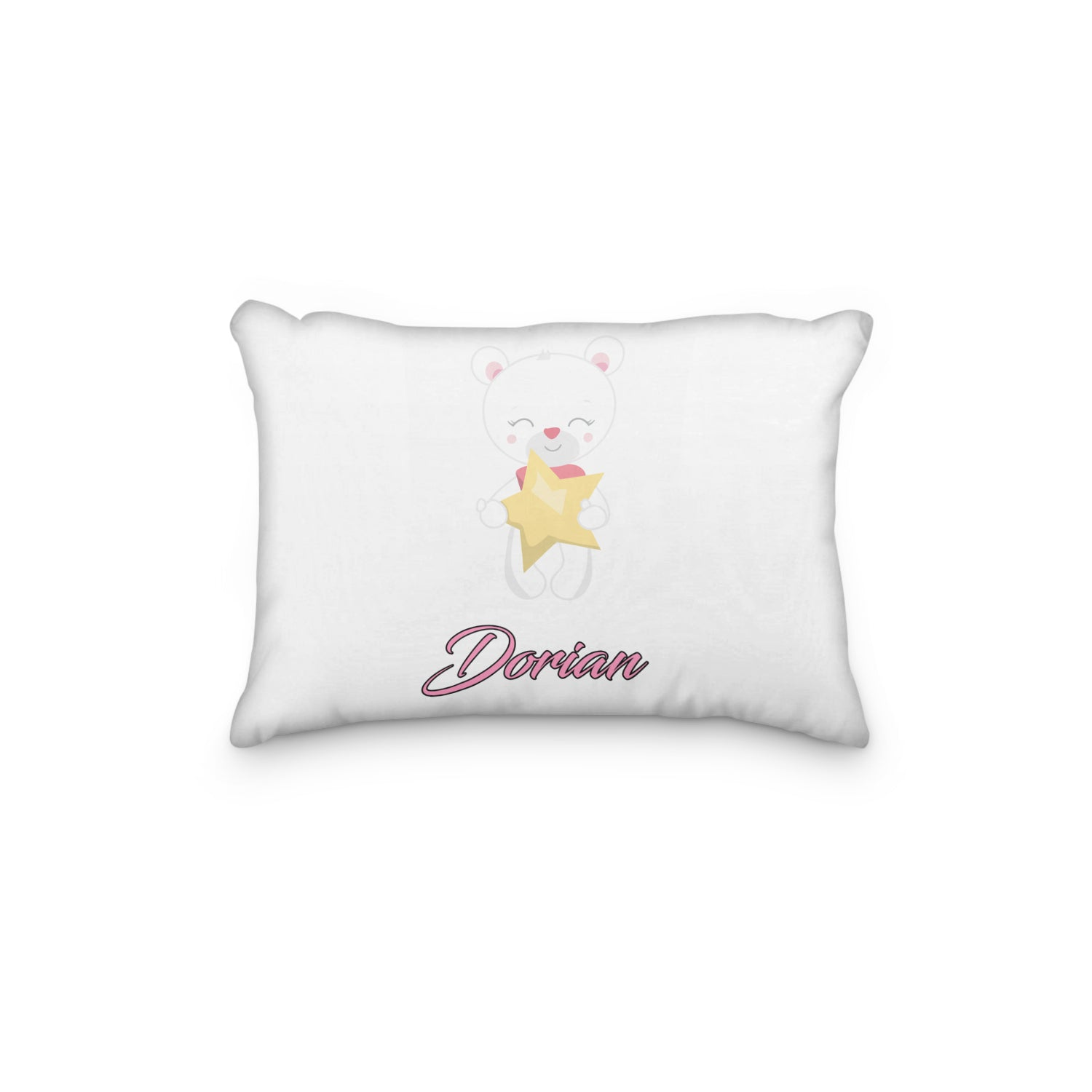 Bear Standing with Star Personalized Pillowcase - Incandescently - Glitter Sparkle Throw Pillows - Farmhouse Decor