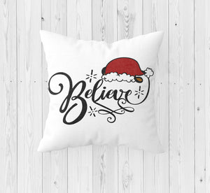 Believe with Santa Hat Christmas Throw Pillow