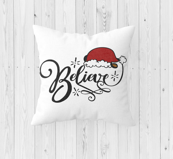 Believe with Santa Hat Christmas Throw Pillow - Incandescently