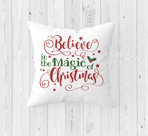 Believe in the Magic of Christmas Throw Pillow - Incandescently - Glitter Sparkle Throw Pillows - Farmhouse Decor