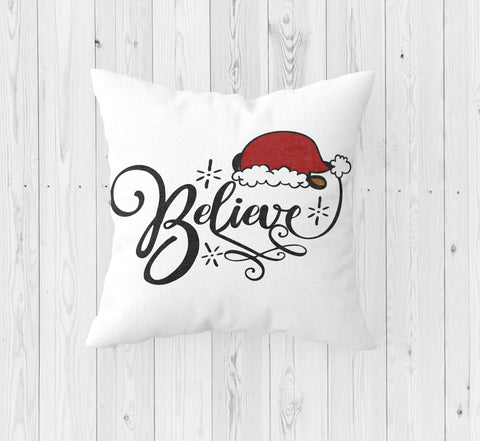 Believe with Santa Hat Christmas Throw Pillow - Incandescently - Glitter Sparkle Throw Pillows - Farmhouse Decor