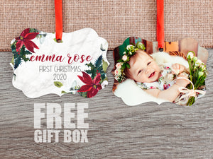 Baby's First Christmas - Poinsettia- 50% OFF ORNAMENTS, FREE GIFT BOX INCLUDED - Incandescently - Glitter Sparkle Throw Pillows - Farmhouse Decor