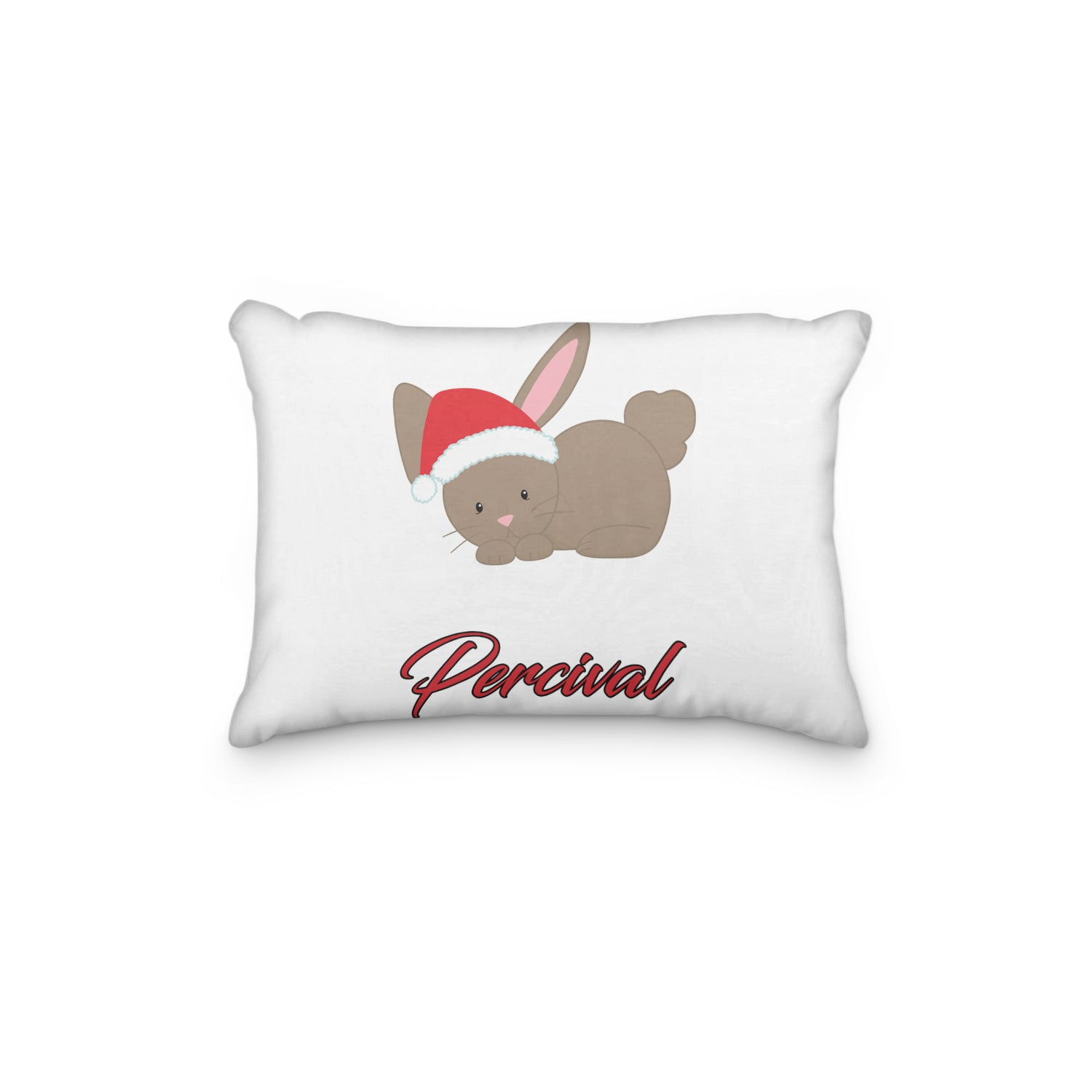 Bunny Christmas Hat Personalized Pillowcase - Incandescently - Glitter Sparkle Throw Pillows - Farmhouse Decor