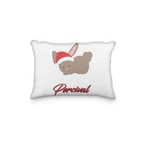 Bunny Christmas Hat Personalized Pillowcase - Incandescently