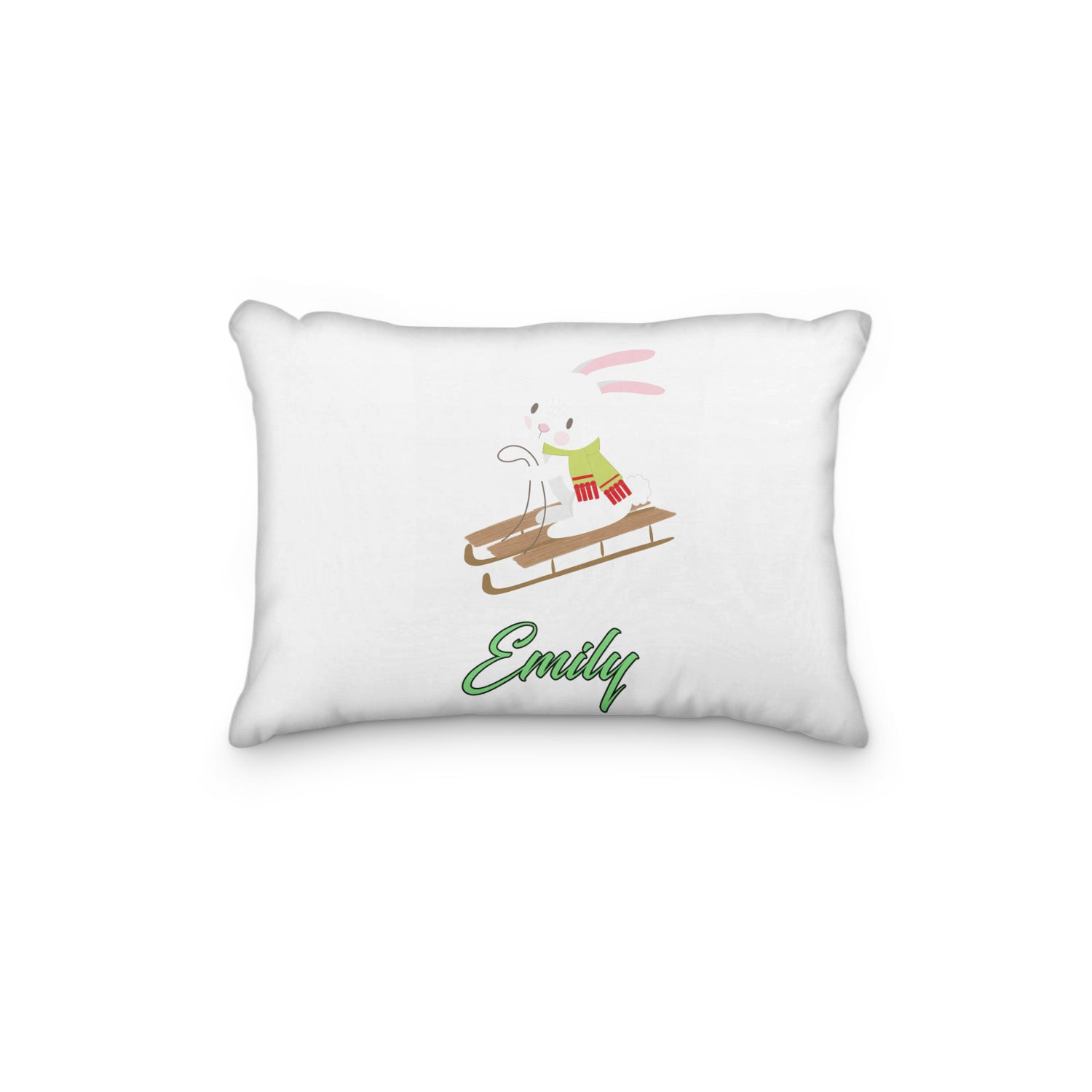 Bunny Riding in Sled Personalized Pillowcase - Incandescently