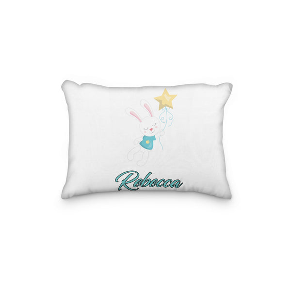 Bunny Star Personalized Pillowcase - Incandescently - Glitter Sparkle Throw Pillows - Farmhouse Decor