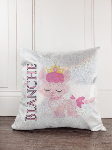 Princess Cat with Crown Personalized Glitter Sparkle Throw Pillow - Incandescently