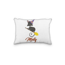 Load image into Gallery viewer, Black Cat Halloween Broom Personalized Pillowcase - Incandescently