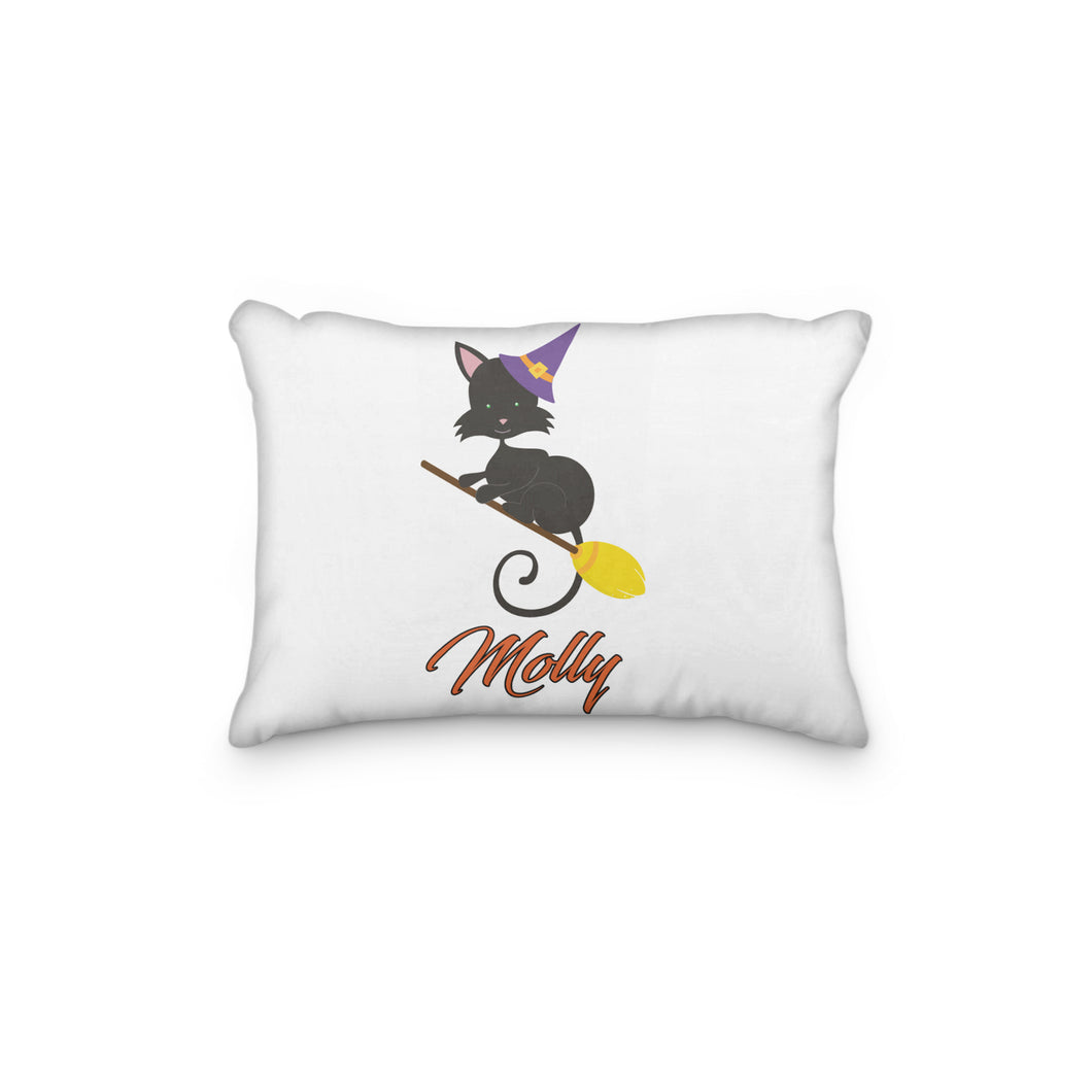 Black Cat Halloween Broom Personalized Pillowcase - Incandescently