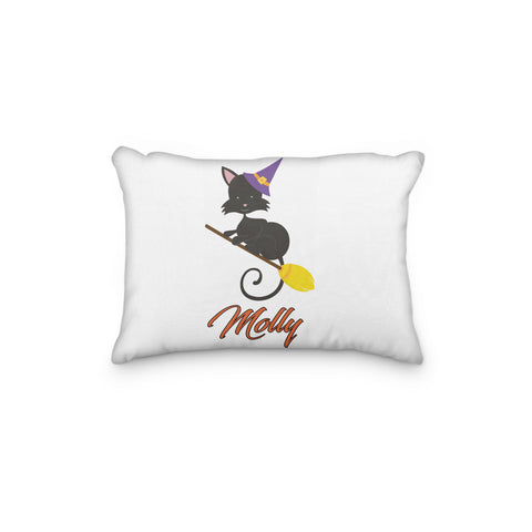 Black Cat Halloween Broom Personalized Pillowcase - Incandescently - Glitter Sparkle Throw Pillows - Farmhouse Decor