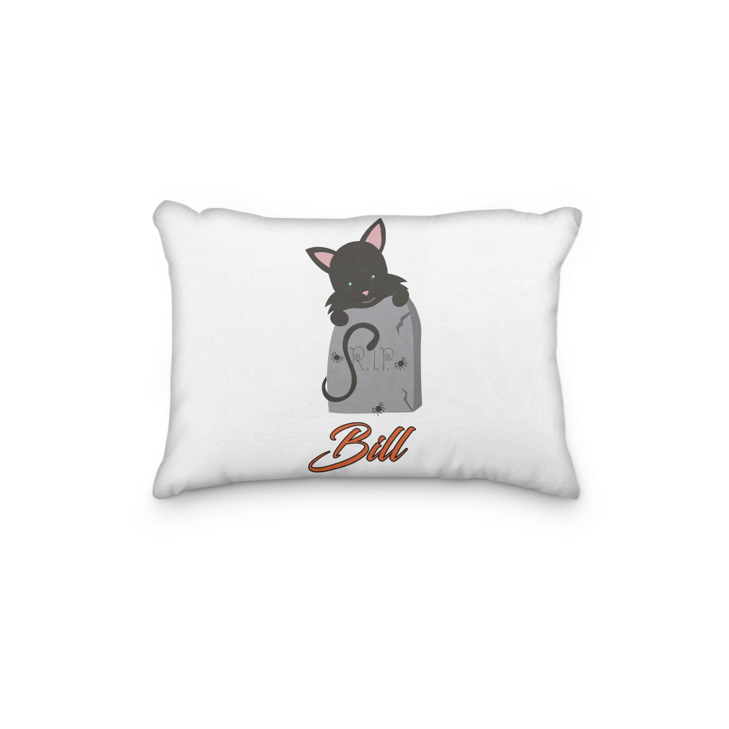 Black Cat Halloween with Tombstone Personalized Pillowcase - Incandescently