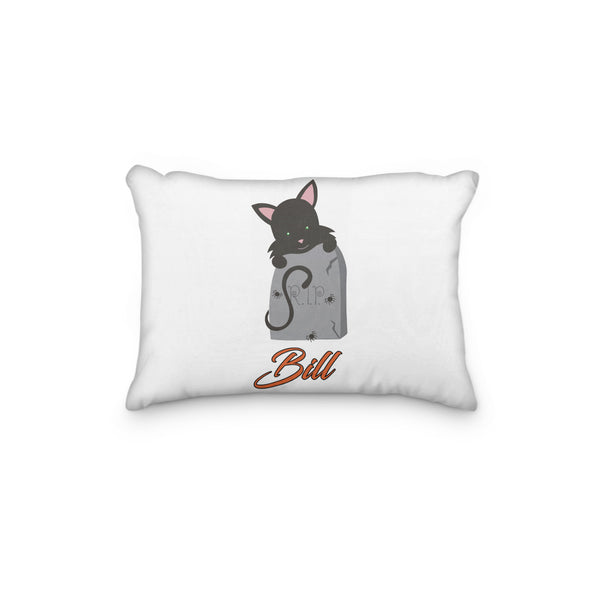 Black Cat Halloween with Tombstone Personalized Pillowcase - Incandescently - Glitter Sparkle Throw Pillows - Farmhouse Decor