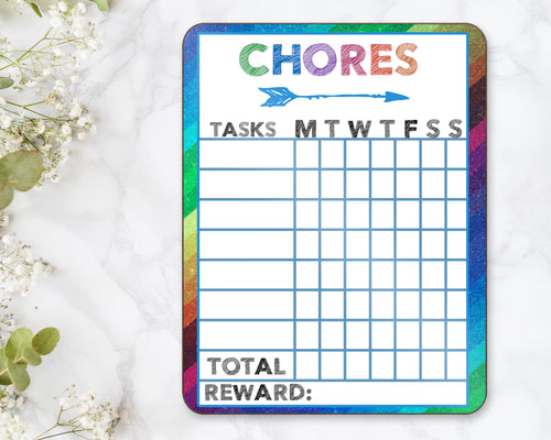 Chore Chart Dry Erase Board Children Kids Summer Weekly Allowance Responsibility Kid's Chore Contribution Screen Time Ipad Electronics Games