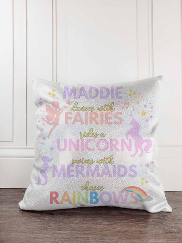 Dance with Fairies, Ride a Unicorn, Swim with Mermaids, Chase those Rainbows Glitter Sparkle Personalized Throw Pillow Cover