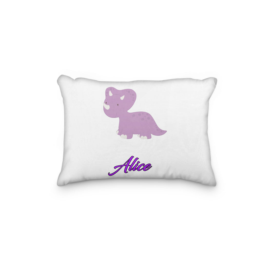 Dinosaur Triceratops Purple Personalized Pillowcase - incandescently
