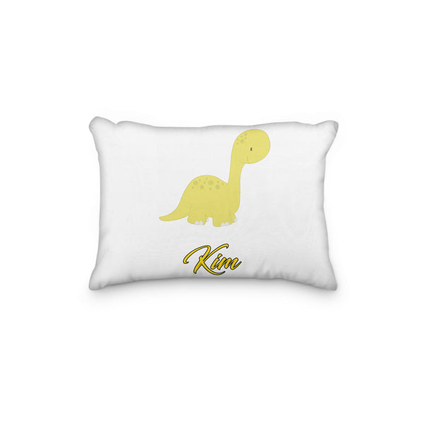Dinosaur Brontosaurus Yellow Personalized Pillowcase - Incandescently