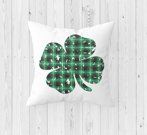 Distressed Four Leaf Clover Shamrock St. Patrick's Day Throw Pillow - Incandescently
