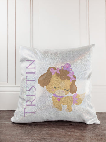 Dog Princess Glitter Sparkle Throw Pillow - Incandescently