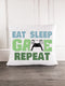 Eat Sleep Game Repeat Gaming Throw Pillow Cover - Incandescently - Glitter Sparkle Throw Pillows - Farmhouse Decor