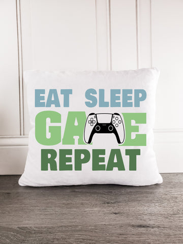 Eat Sleep Game Repeat - Incandescently - Glitter Sparkle Throw Pillows - Farmhouse Decor