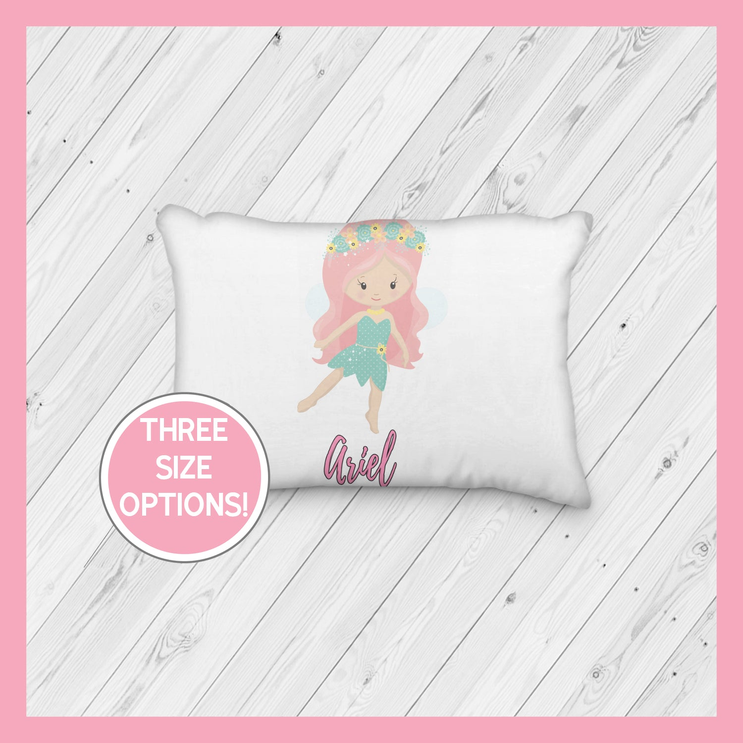 Fairy with Pink Hair Personalized Pillowcase  | Springtime | Magical | Mythical | Fairies - Incandescently