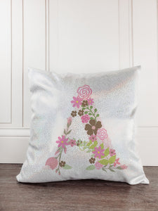 Floral Flower Letter Glitter Sparkle Throw Pillow - Incandescently