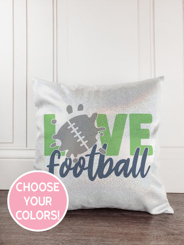 Football Glitter Sparkle Throw Pillow Cover - Incandescently - Glitter Sparkle Throw Pillows - Farmhouse Decor