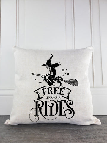 Free Broom Rides Rustic Farmhouse Christmas Throw Pillow - Incandescently