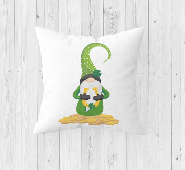 Gnome with Shamrock and Horseshoe St. Patrick's Day Throw Pillow - Incandescently - Glitter Sparkle Throw Pillows - Farmhouse Decor