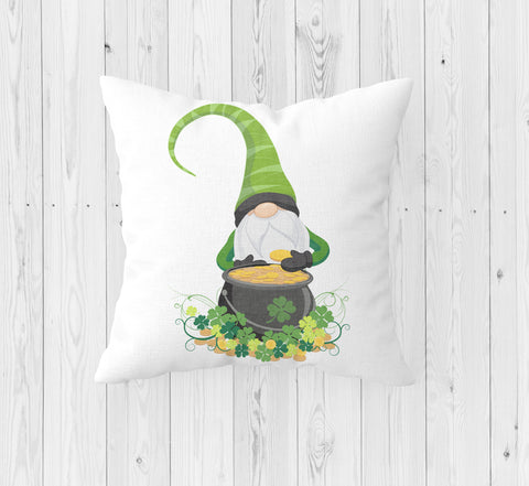 Gnome with Pot of Gold St. Patrick's Day Throw Pillow - Incandescently - Glitter Sparkle Throw Pillows - Farmhouse Decor