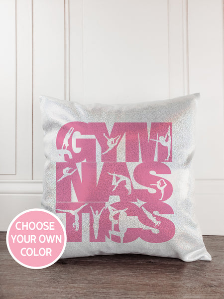 Gymnast Personalized Glitter Sparkle Throw Pillow - Incandescently