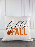 Hello Fall Rustic Farmhouse Throw Pillow - Incandescently - Glitter Sparkle Throw Pillows - Farmhouse Decor