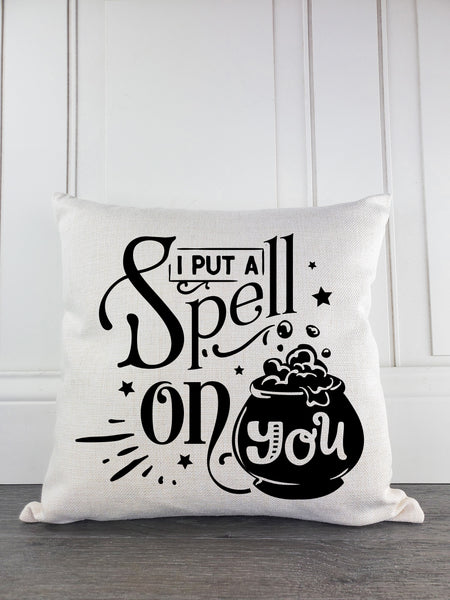 I Put Spell On You Rustic Farmhouse Halloween Throw Pillow - Incandescently