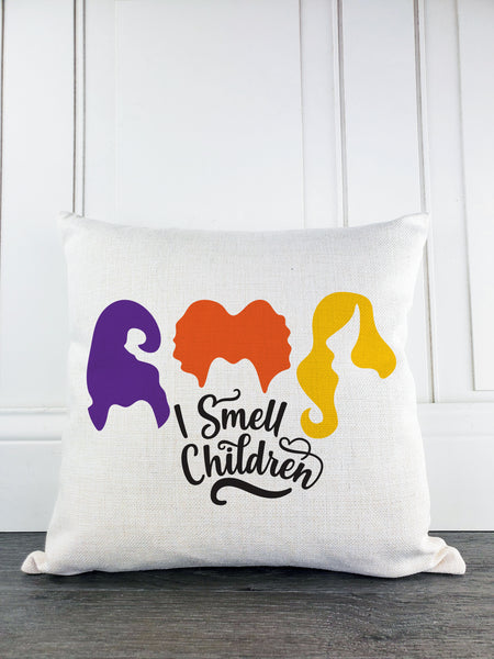 I Smell Children Sanderson Sisters Rustic Farmhouse Halloween Throw Pillow - Incandescently