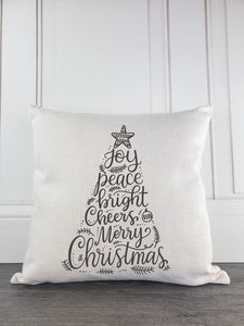 Joy Peace Bright Cheers and Merry Christmas Throw Pillow - Incandescently - Glitter Sparkle Throw Pillows - Farmhouse Decor
