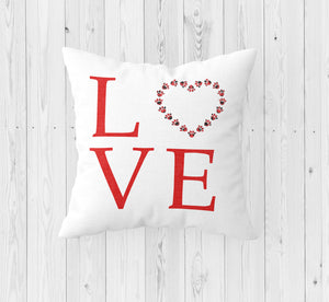 Love with Paw Prints Throw Pillow - Incandescently - Glitter Sparkle Throw Pillows - Farmhouse Decor
