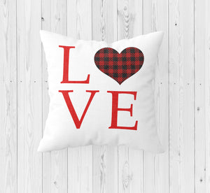 Love with Plaid Heart Throw Pillow - Incandescently