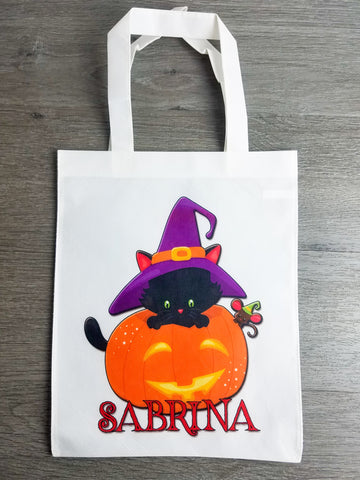 Halloween Trick or Treat Bag Personalized - Incandescently - Glitter Sparkle Throw Pillows - Farmhouse Decor