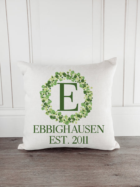 Last Name Established Rustic Country Farmhouse St. Patrick's Day Throw Pillow
