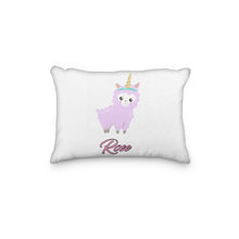 Load image into Gallery viewer, Llama Sheep Pink Horn Personalized Pillowcase - incandescently