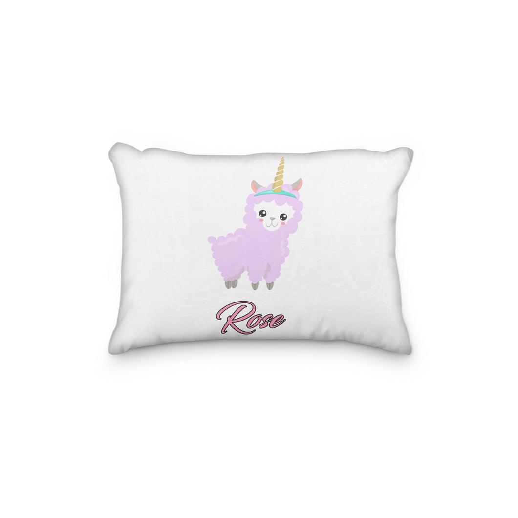 Llama Sheep Pink Horn Personalized Pillowcase - incandescently