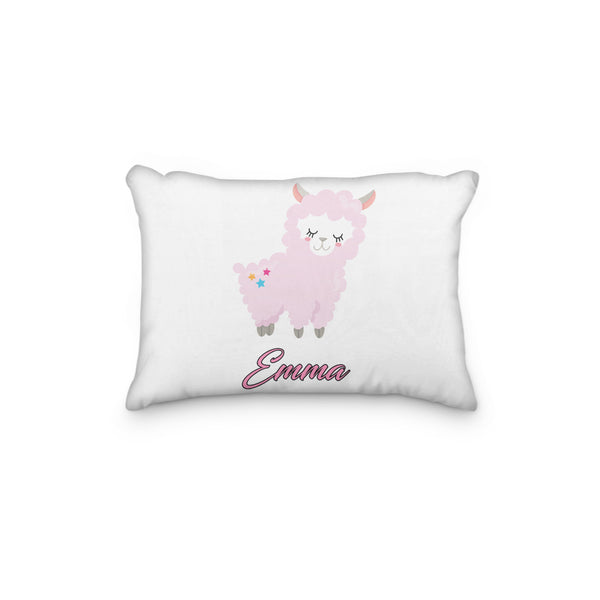 Llama Sheep Pink Stars Personalized Pillowcase - Incandescently - Glitter Sparkle Throw Pillows - Farmhouse Decor