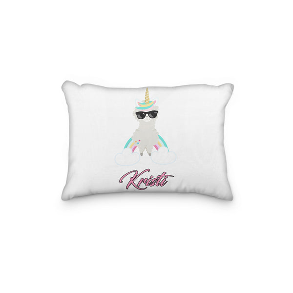 Llama Rainbow Standing Sunglasses Horn Personalized Pillowcase - Incandescently - Glitter Sparkle Throw Pillows - Farmhouse Decor
