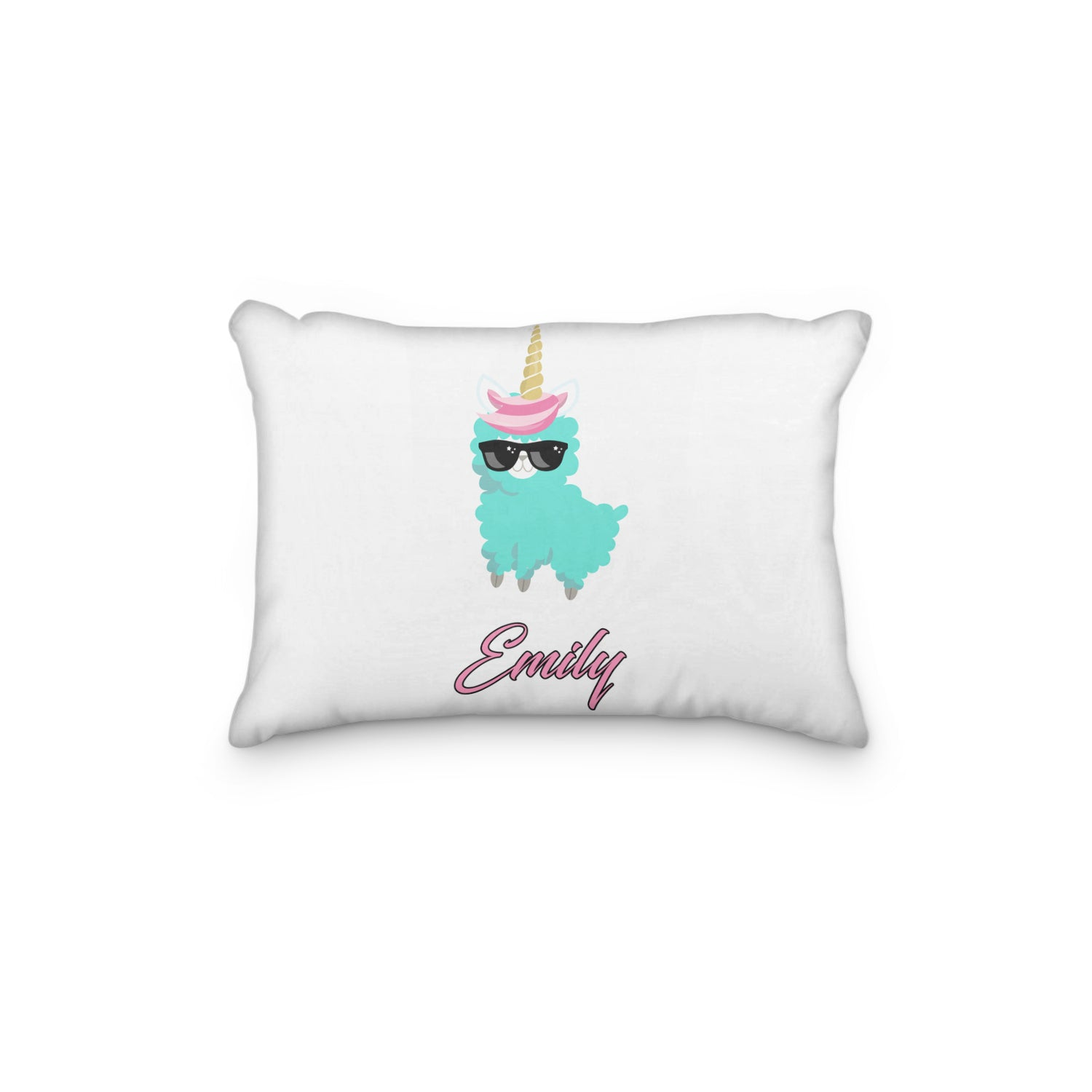 Llama Sunglasses Teal Personalized Pillowcase - Incandescently