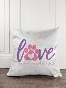 Love German Shepherds Dog Glitter Sparkle Throw Pillow - Incandescently